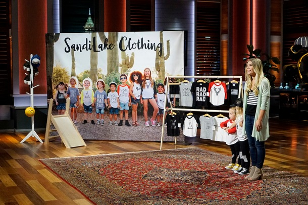 """SHARK TANK - """"Episode 806""""- A stay-at-home mom from Milwaukee, Oregon, learns a valuable business lesson in the Tank as it relates to her stylish clothing line for little ones; an 18-year-old from Canton, New York, with a passion for all things maple, hopes the Sharks can help spread his delicious maple syrup products to tables across America; a woman from Houston, Texas, has risked everything for her simple and smart multi-use kitchen accessory; and a young man from Milwaukee, Oregon, created a new type of tags for dog lovers. Also, a profile on Kevin O'Leary reveals a lesser-known side of the Shark also known as """"Mr. Wonderful,"""" on """"Shark Tank,"""" airing FRIDAY, OCTOBER 21 (9:00-10:01 p.m. EDT), on the ABC Television Network. (ABC/Kelsey McNeal) MELISSA LAY (SANDILAKE CLOTHING)"""