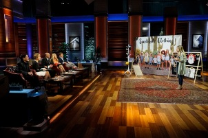 """SHARK TANK - """"Episode 806""""- A stay-at-home mom from Milwaukee, Oregon, learns a valuable business lesson in the Tank as it relates to her stylish clothing line for little ones; an 18-year-old from Canton, New York, with a passion for all things maple, hopes the Sharks can help spread his delicious maple syrup products to tables across America; a woman from Houston, Texas, has risked everything for her simple and smart multi-use kitchen accessory; and a young man from Milwaukee, Oregon, created a new type of tags for dog lovers. Also, a profile on Kevin O'Leary reveals a lesser-known side of the Shark also known as """"Mr. Wonderful,"""" on """"Shark Tank,"""" airing FRIDAY, OCTOBER 21 (9:00-10:01 p.m. EDT), on the ABC Television Network. (ABC/Kelsey McNeal) MARK CUBAN, BARBARA CORCORAN, KEVIN O'LEARY, LORI GREINER, ROBERT HERJAVEC, MELISSA LAY (SANDILAKE CLOTHING)"""