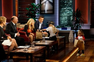 """SHARK TANK - """"Episode 806""""- A stay-at-home mom from Milwaukee, Oregon, learns a valuable business lesson in the Tank as it relates to her stylish clothing line for little ones; an 18-year-old from Canton, New York, with a passion for all things maple, hopes the Sharks can help spread his delicious maple syrup products to tables across America; a woman from Houston, Texas, has risked everything for her simple and smart multi-use kitchen accessory; and a young man from Milwaukee, Oregon, created a new type of tags for dog lovers. Also, a profile on Kevin O'Leary reveals a lesser-known side of the Shark also known as """"Mr. Wonderful,"""" on """"Shark Tank,"""" airing FRIDAY, OCTOBER 21 (9:00-10:01 p.m. EDT), on the ABC Television Network. (ABC/Kelsey McNeal) BARBARA CORCORAN, KEVIN O'LEARY, LORI GREINER, ROBERT HERJAVEC"""