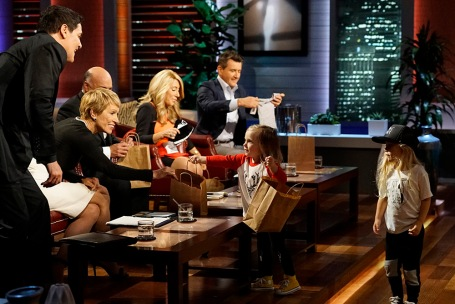 """SHARK TANK - """"Episode 806""""- A stay-at-home mom from Milwaukee, Oregon, learns a valuable business lesson in the Tank as it relates to her stylish clothing line for little ones; an 18-year-old from Canton, New York, with a passion for all things maple, hopes the Sharks can help spread his delicious maple syrup products to tables across America; a woman from Houston, Texas, has risked everything for her simple and smart multi-use kitchen accessory; and a young man from Milwaukee, Oregon, created a new type of tags for dog lovers. Also, a profile on Kevin O'Leary reveals a lesser-known side of the Shark also known as """"Mr. Wonderful,"""" on """"Shark Tank,"""" airing FRIDAY, OCTOBER 21 (9:00-10:01 p.m. EDT), on the ABC Television Network. (ABC/Kelsey McNeal) MARK CUBAN, BARBARA CORCORAN, KEVIN O'LEARY, LORI GREINER, ROBERT HERJAVEC"""